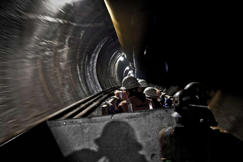 Workers ride from MTA Eastside Access to 140 feet below Grand Central. (Long Island Capital Construction) #0516_15.jpg  ©c price : Underground New York : Clayton Price Photographer