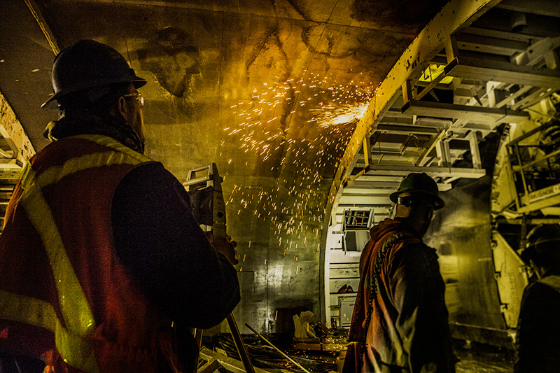 Welding a ceiling form deep under-ground, in the #7 Train Extension to 34th St.