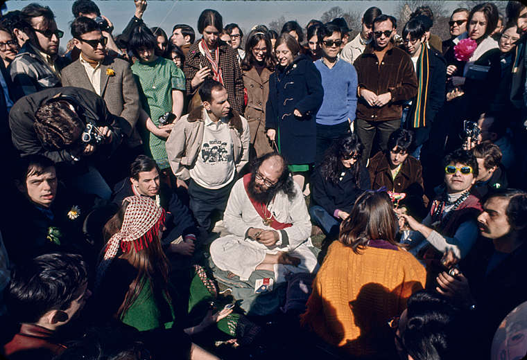 Alan Ginsberg - 1968 Be-In, Central Park  : Life in the 50's, 60's, 70's : Clayton Price Photographer