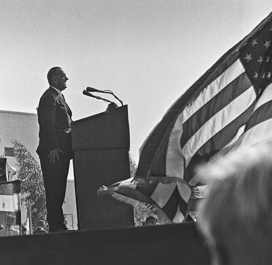 LBJ in Compton, CA, following a death threat. 1964 : Photojournalism & Documentary : Clayton Price Photographer